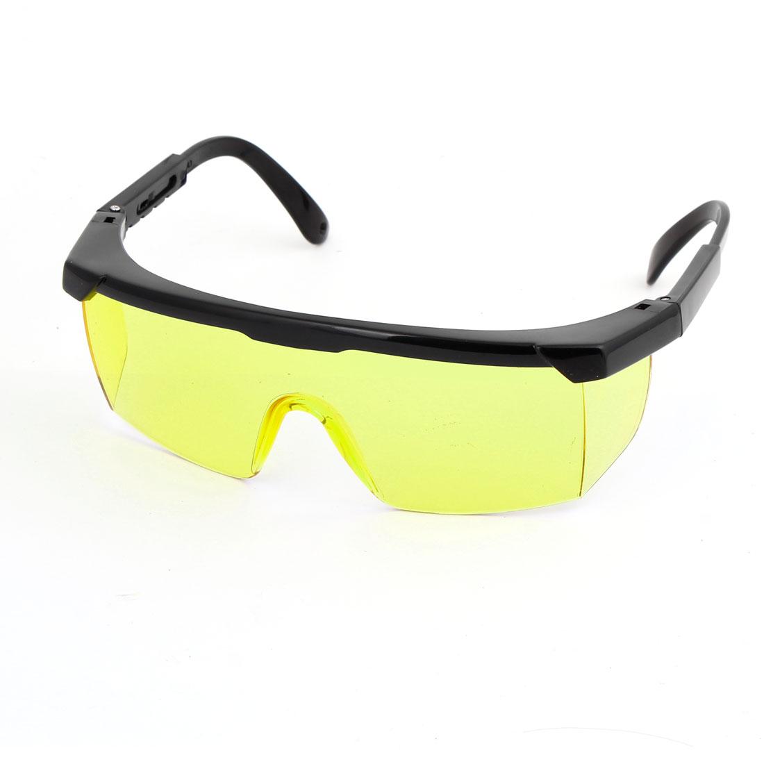 Men Protective Single Bridge Yellow Lens Black Frame Plastic Arms Safety Eyeglasses