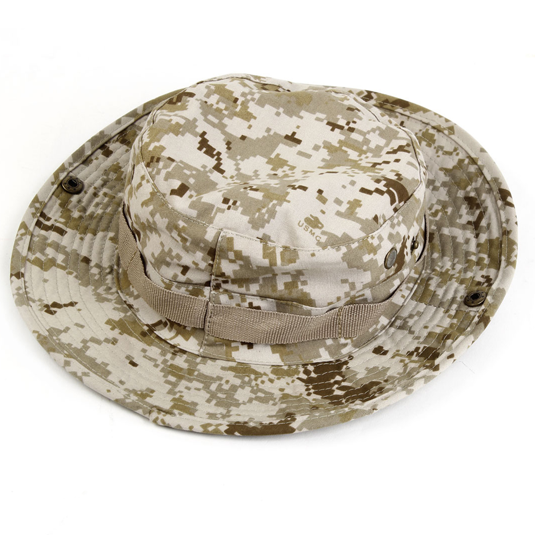 Men Sun Hat Military Army Round Brimmed Bonnet Woodland Camo Outdoor Cap for Fishing Hiking Travel
