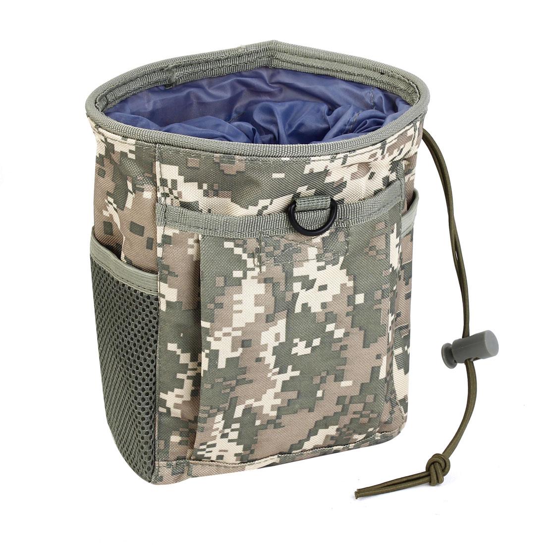 Army Camping Travel Supply Drawstring Closure Camouflage Recycling Bag Green Gray