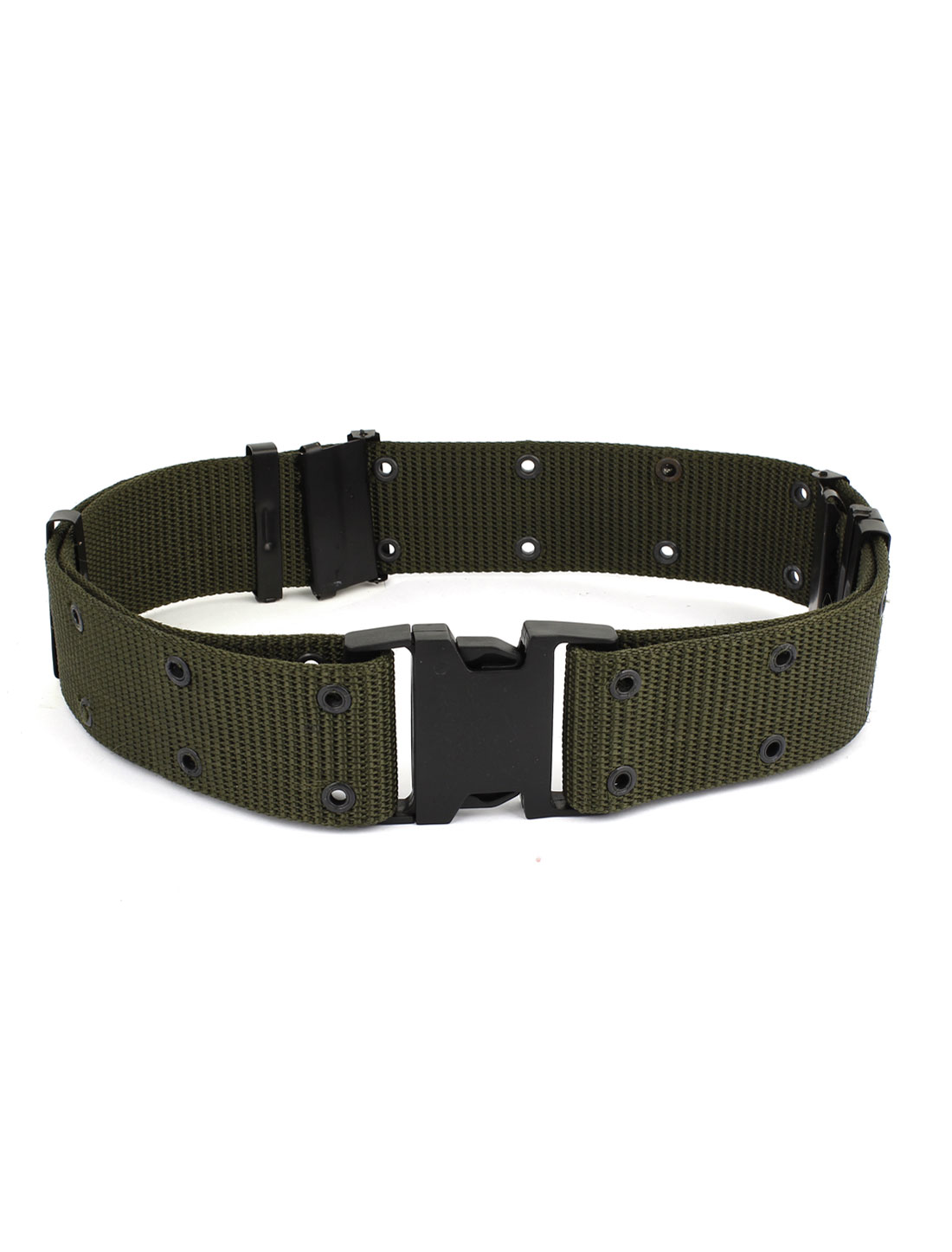 Double Row 16 Perforated Hole Release Buckle Outdoor Military Canvas Belt Amry Green