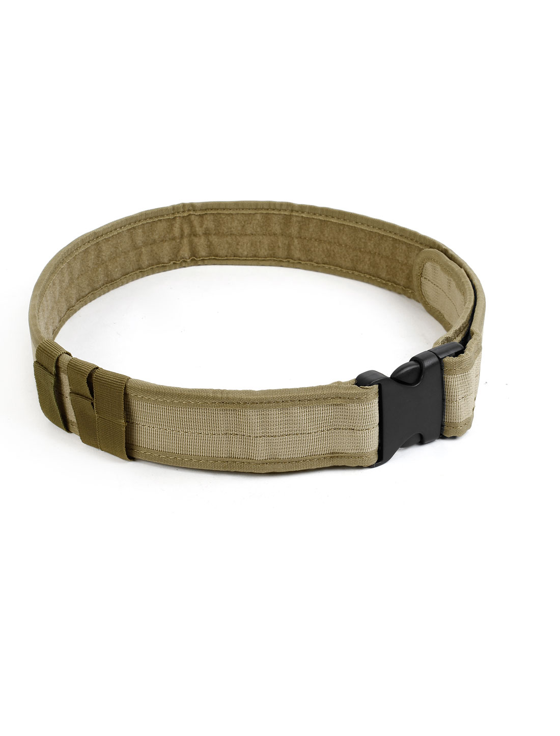 Men Release Buckle Adjustable Casual Canvas Military Waist Belt Khaki