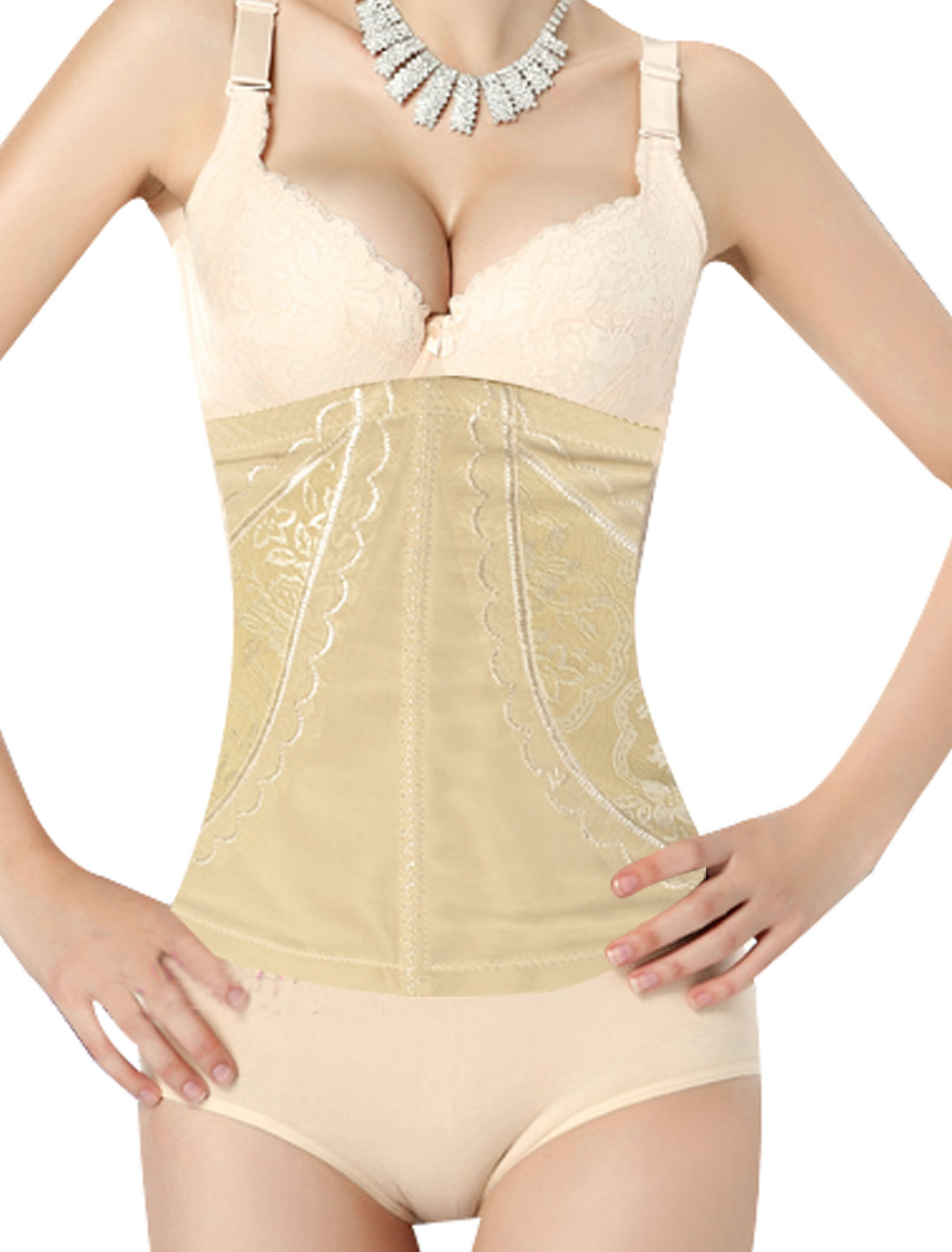 Beige Flowers Lace Adjustable Stretchy Waist Trimmer Cincher Size XS for Ladies