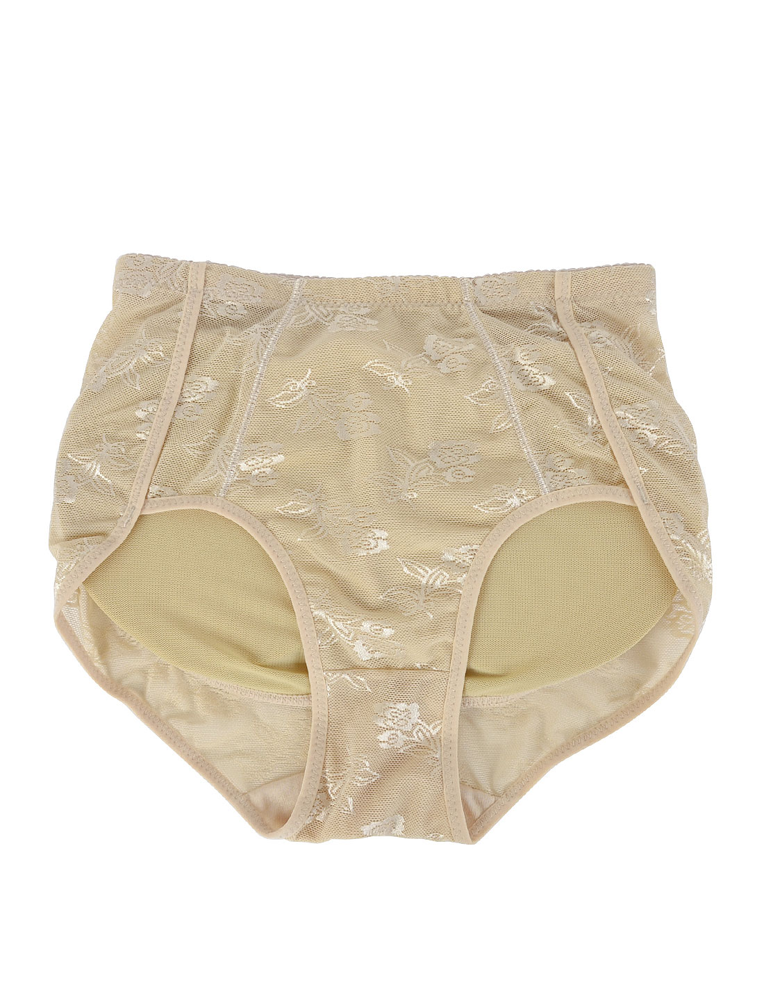Woman Stretch Waistband Hold Buttocks Shaper Underwear Panties Briefs Beige M