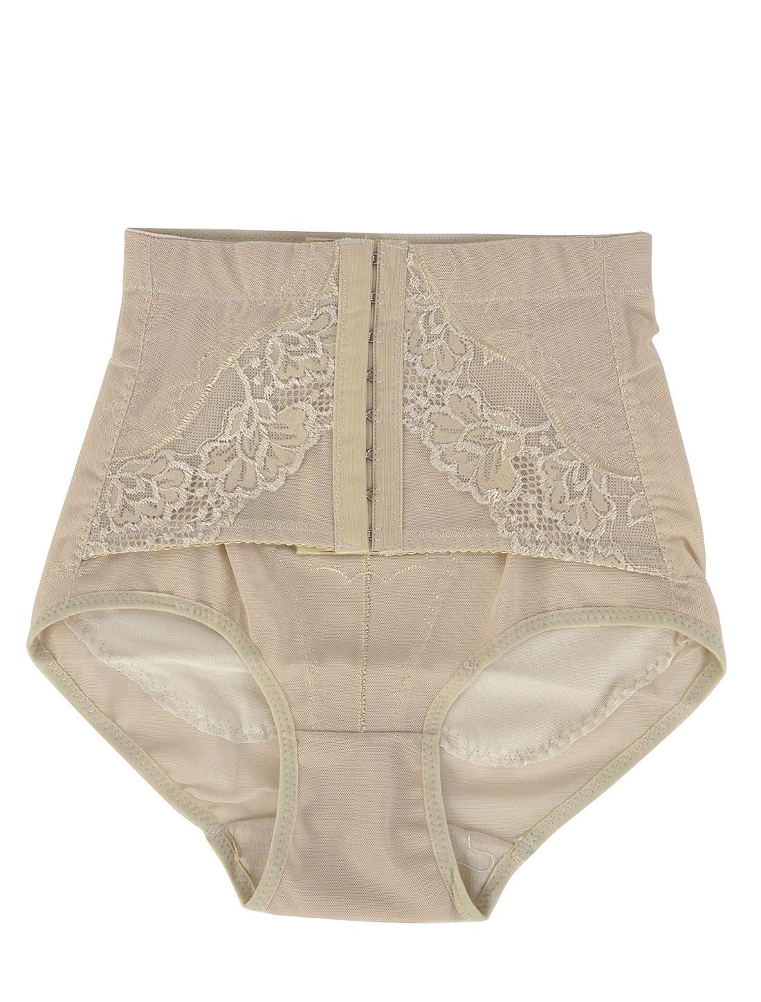 Elastic High Waist Control Corset Shaper Underwear Briefs Beige XS for Women