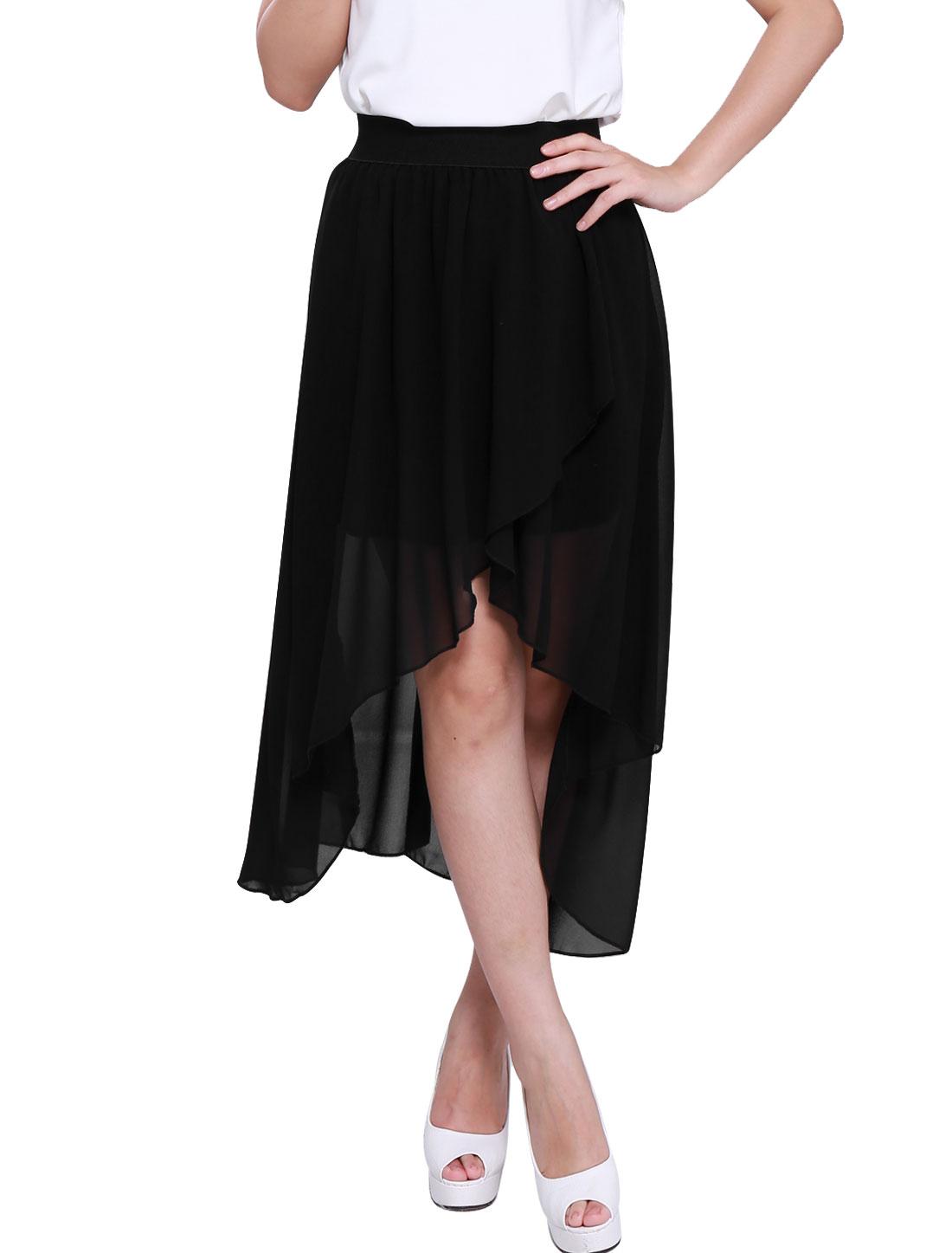 Ladies Sweet Elastic Waist Asymmetric Hem Lining Chiffon Skirt Black XS