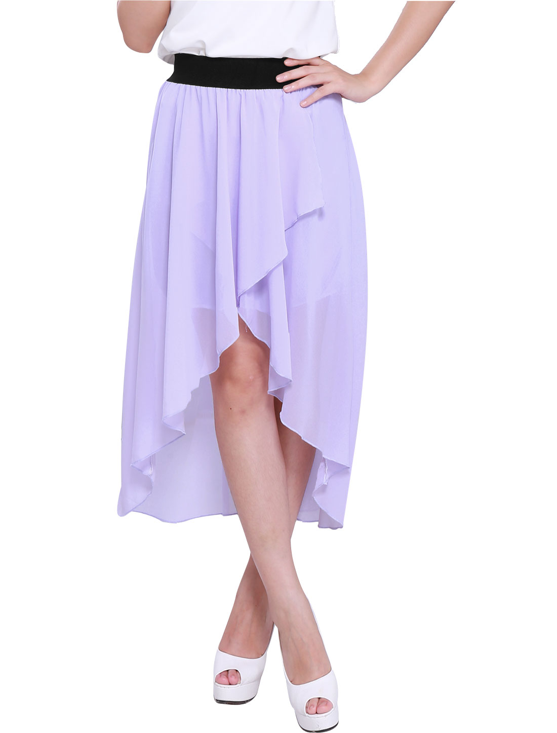 Ladies Sweet Stretch Waist Asymmetric Hem Chiffon Skirt Light Purple XS