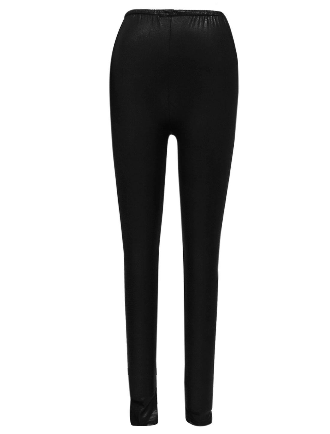 Women Sexy Elastic Waist Snakeskin Design Skinny Leggings Black XS