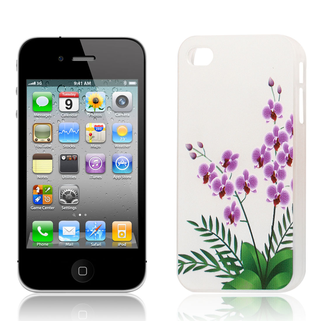 Purple Flower with Leaves Pattern Hard Protective Back Case Cover Clear for iPhone 4S
