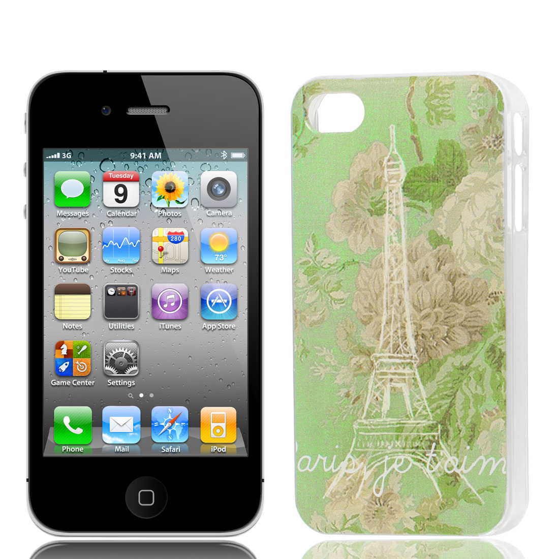 Eiffel Tower Flower Pattern Hard Protective Back Case Cover Clear for iPhone 4 4S