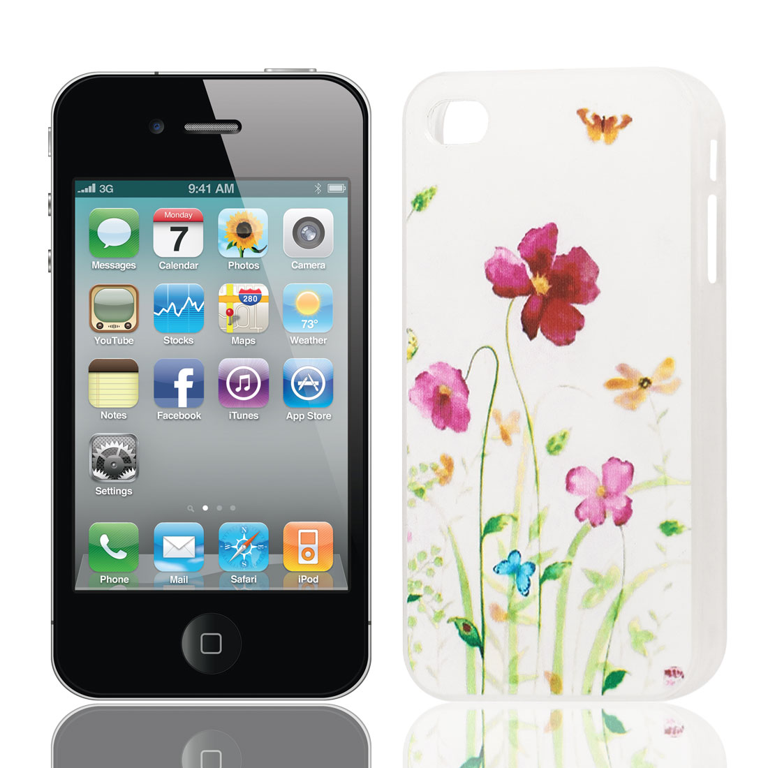 Purple Flower Butterfly Pattern Hard Protective Back Case Cover Clear for iPhone 4 4S