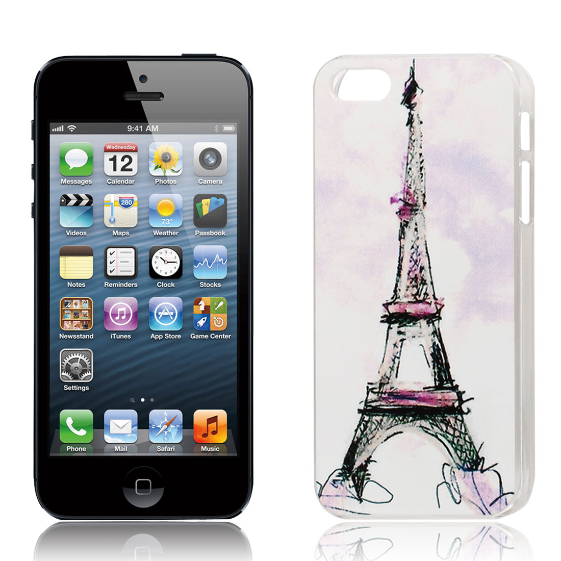 Eiffel Tower Pattern Hard Protective Back Case Cover Clear for iPhone 5S 5GS