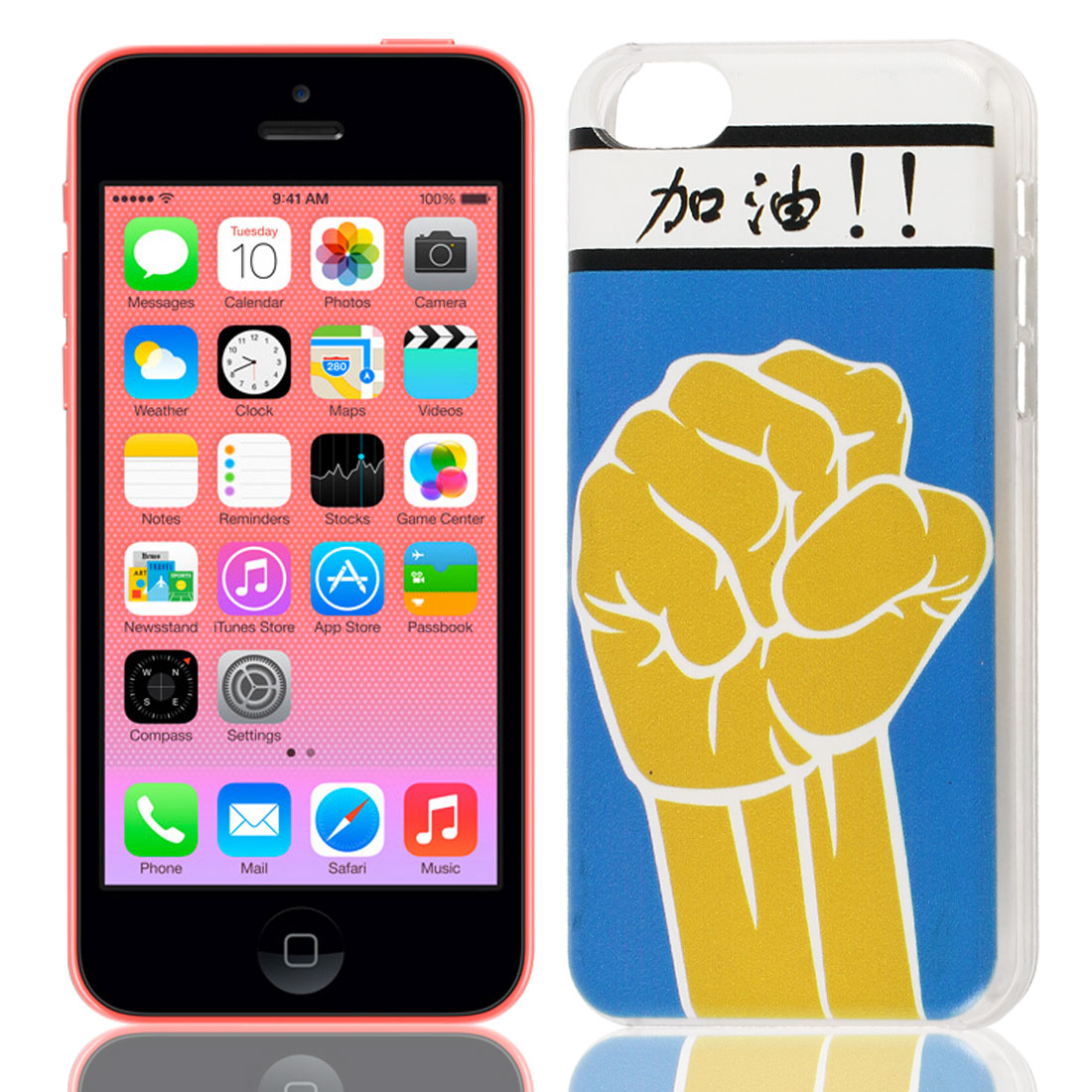 Powerful Fist Chinese Pattern Hard Protective Back Case Cover Clear for iPhone 5C