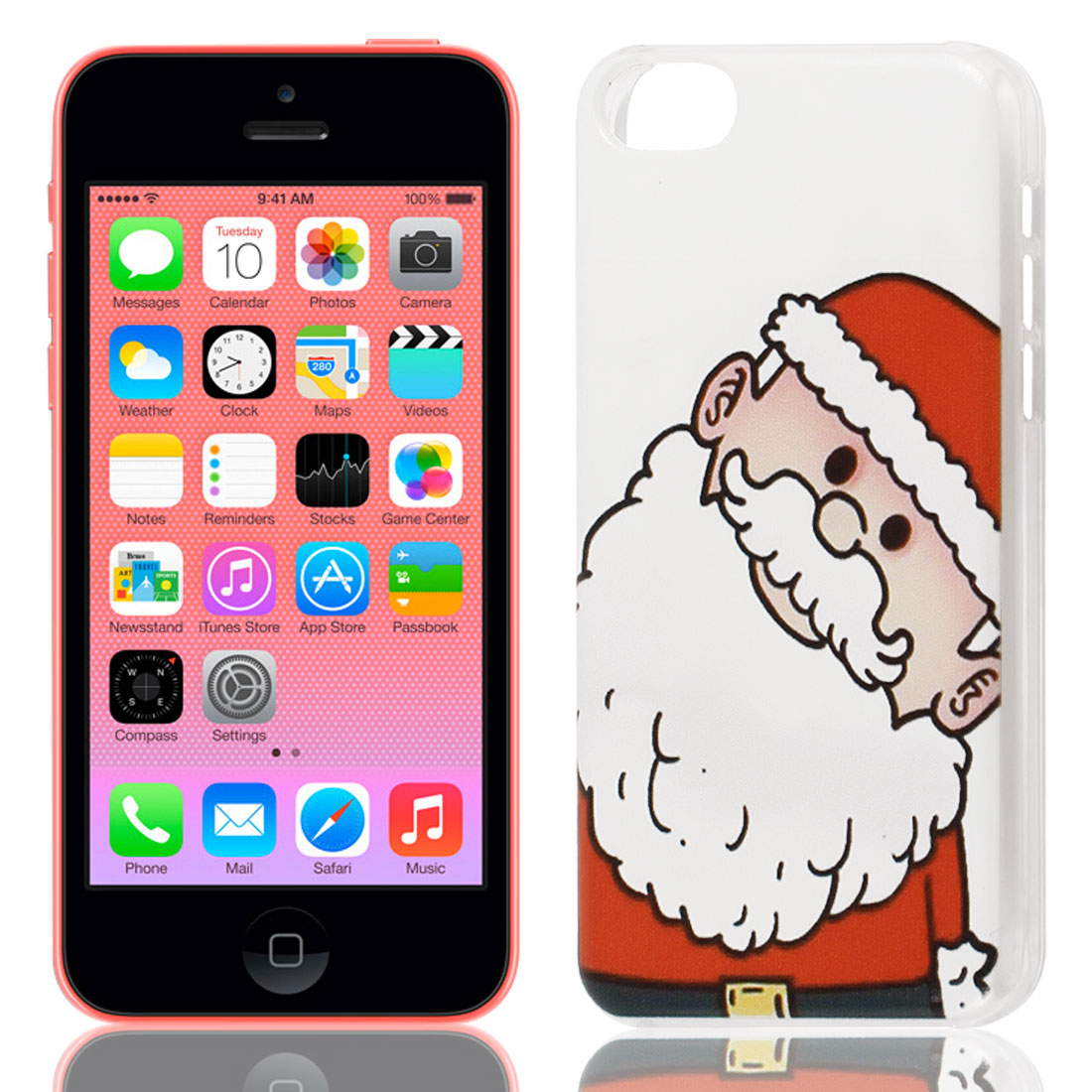 The Santa Claus Pattern Hard Protective Back Case Cover Clear for iPhone 5C