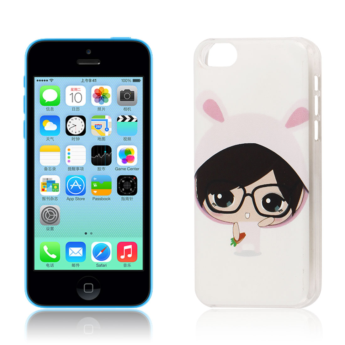 Rabbit Hat Big Head Cartoon Pattern Hard Protective Back Case Cover Clear for iPhone 5C