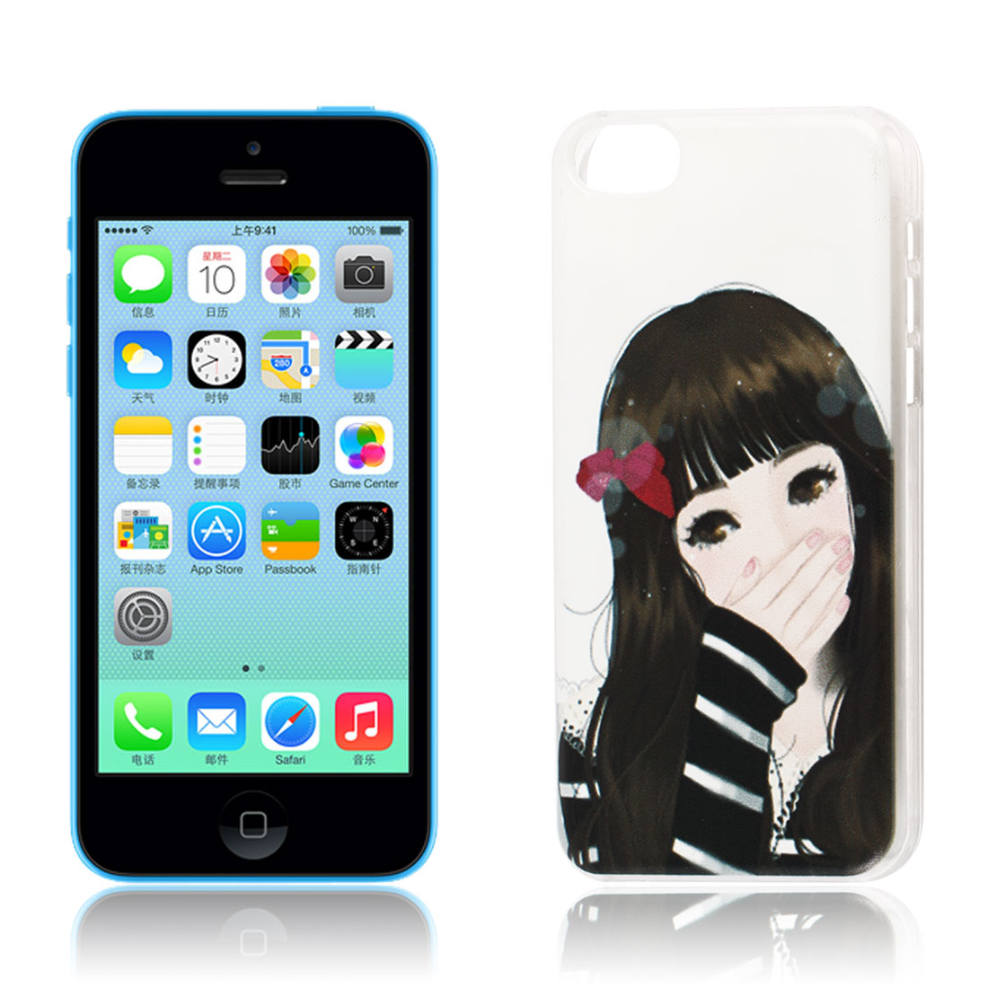 Beauty Girl Pattern Hard Protective Back Case Cover Clear for iPhone 5C