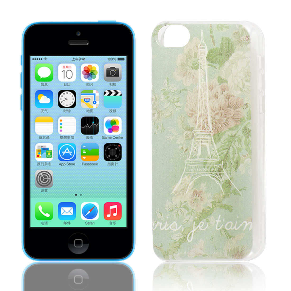 Eiffel Tower Pattern Hard Protective Back Case Cover Guard Clear for iPhone 5C