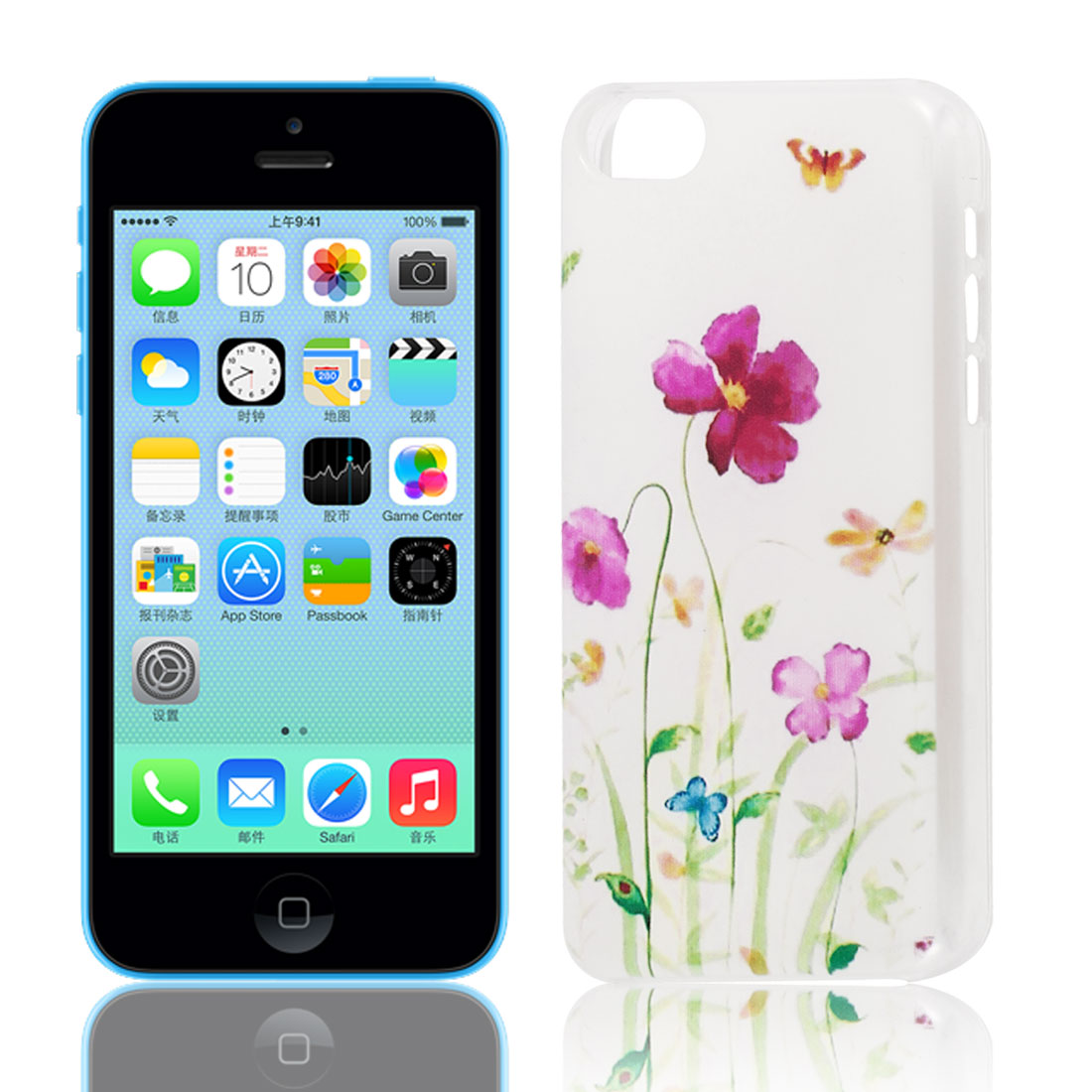 Purple Flower Butterfly Pattern Hard Protective Back Case Cover Clear for iPhone 5C