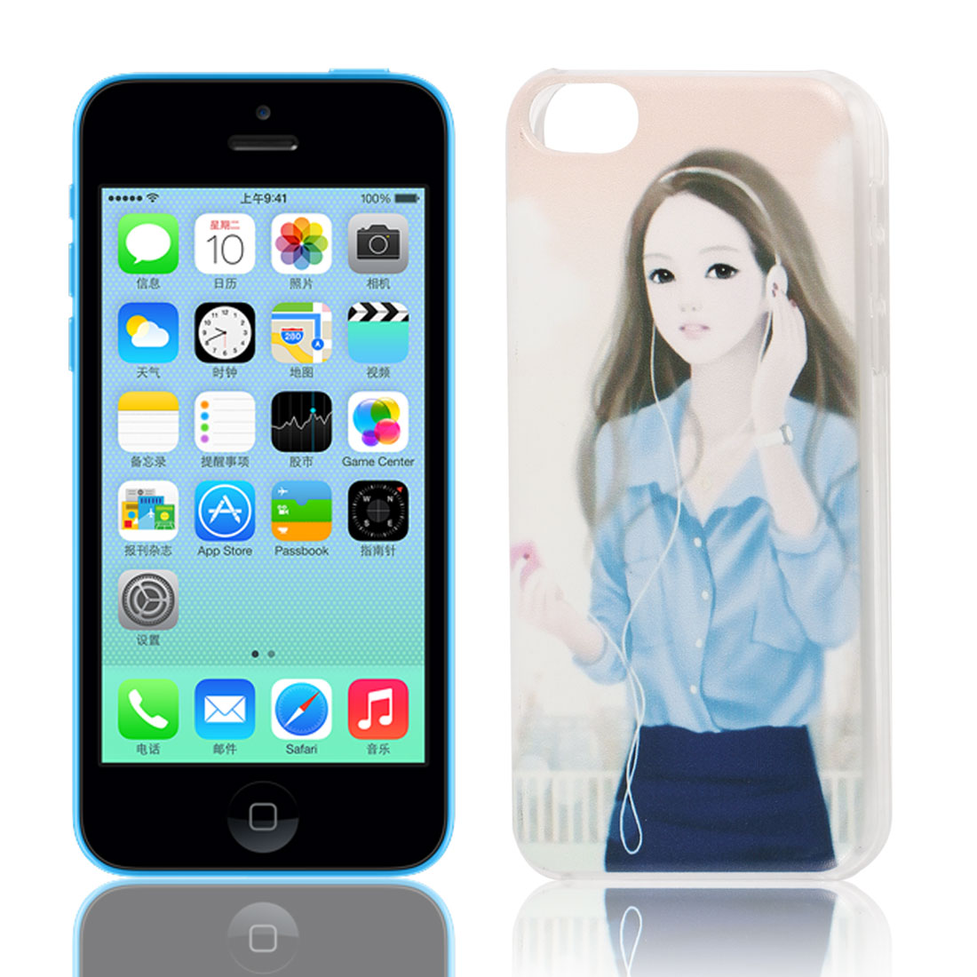 Beauty Lady Listening Music Pattern Hard Plastic Back Case Cover Clear for iPhone 5C