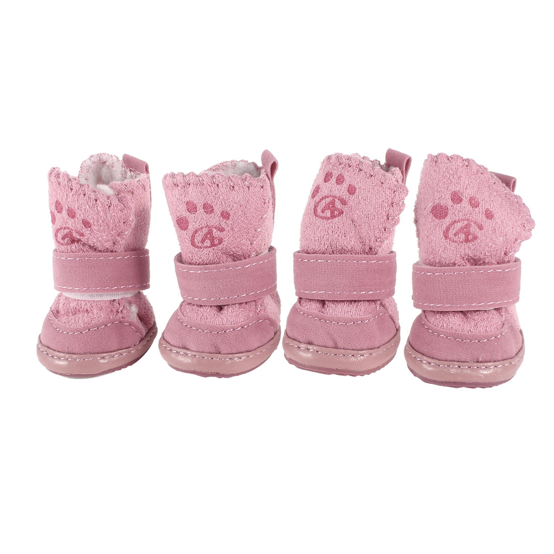 Pink Non Slip Sole Detachable Closure Booties Pug Dog Shoes 2 Pairs Size 1