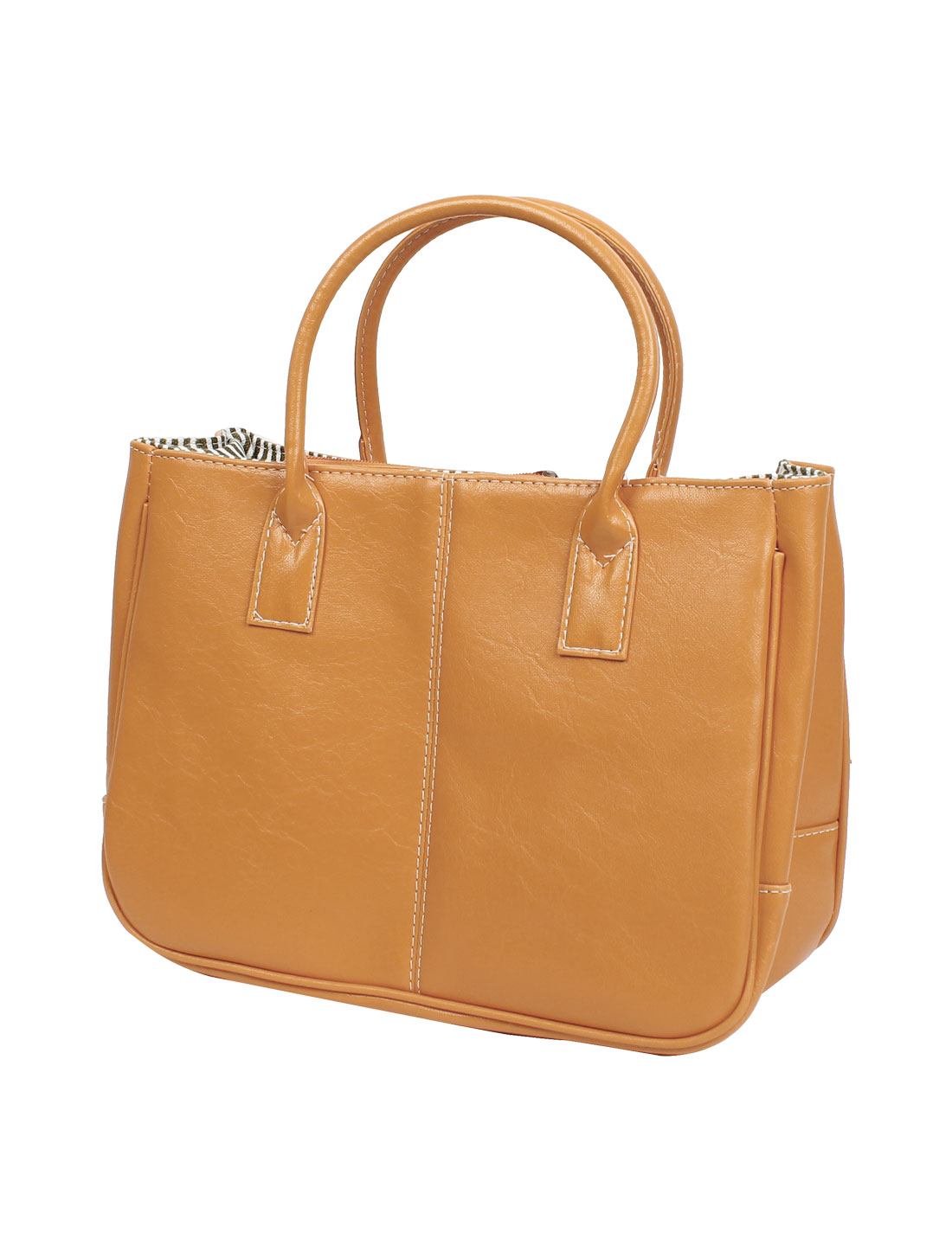 Women Orange Faux Leather Magnetic Button Closure Shopping Tote Bag Handbag