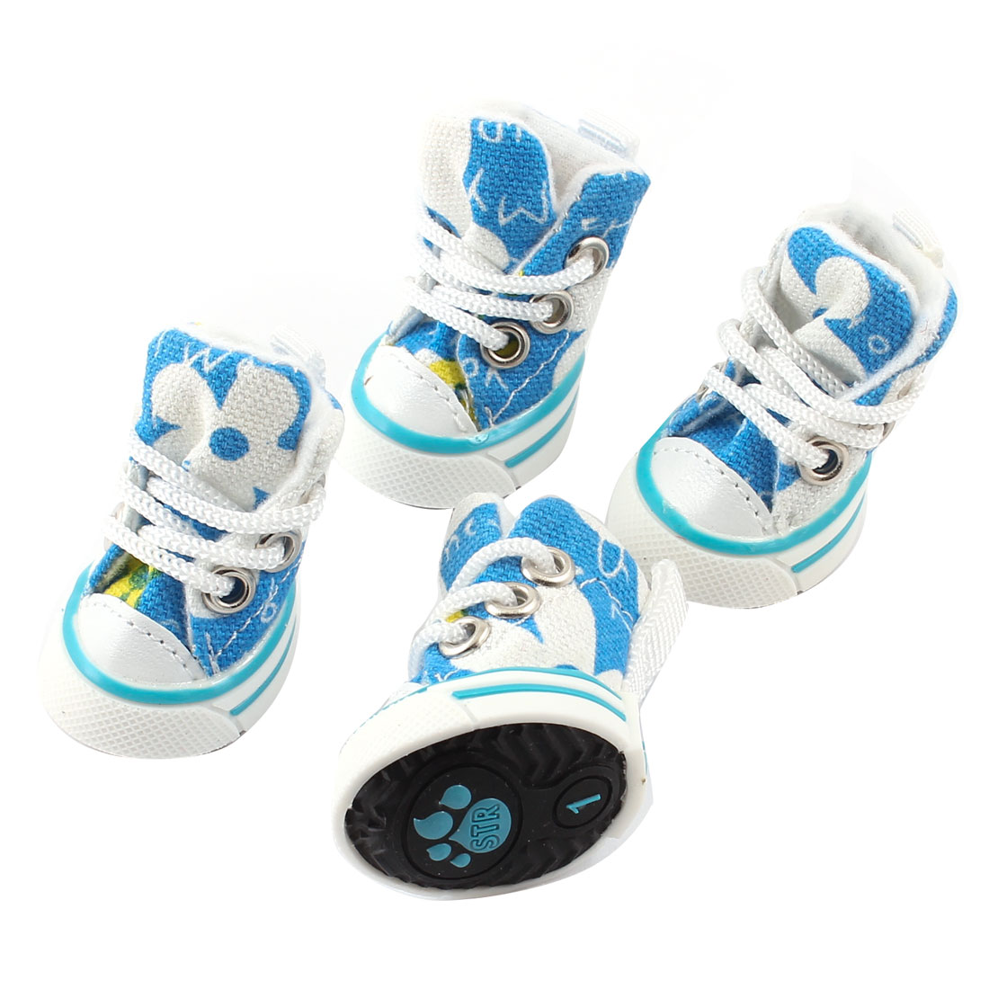 2 Pairs Floral Print Nonslip Sole Canvas White Blue Pet Sneakers Shoes Size XXS