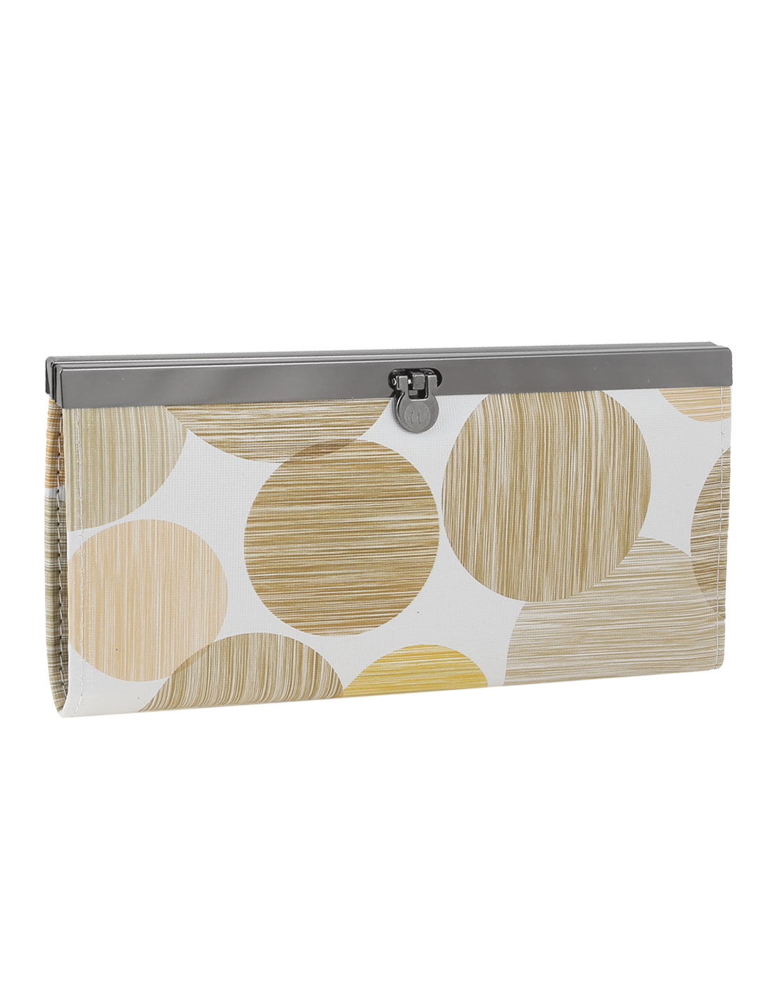 Flip Lock Faux Leather Textured Circles Pattern Purse Wallet Beige White