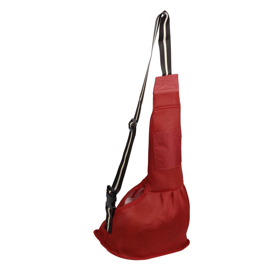 Red Oxford Cloth Meshy Design Dog Pet Single Shoulder Carrier Bag S