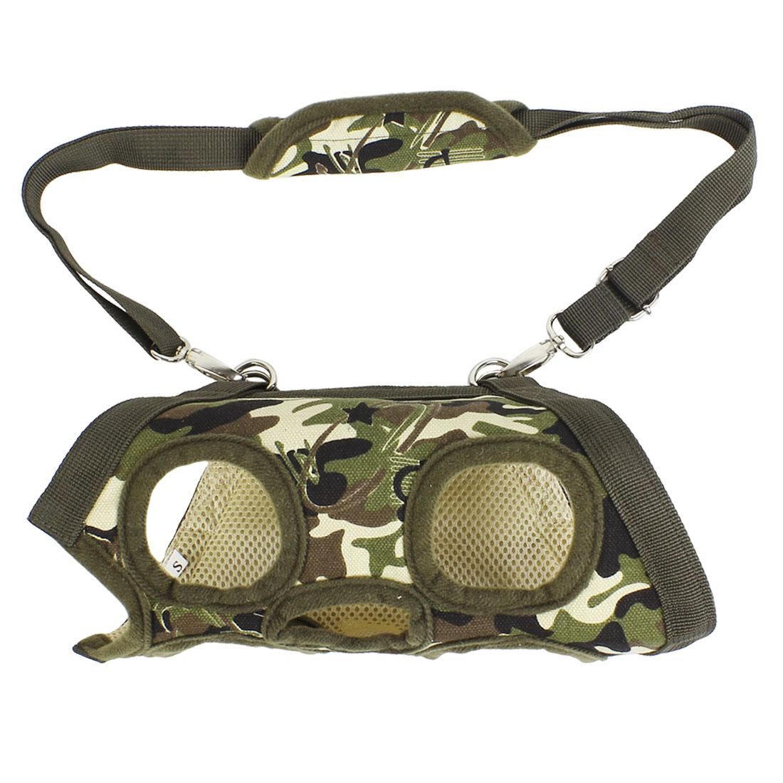 Army Green Zipper Closure Pet Cat Dog Carrying Bag Harness Vest Adjustable Leash XS