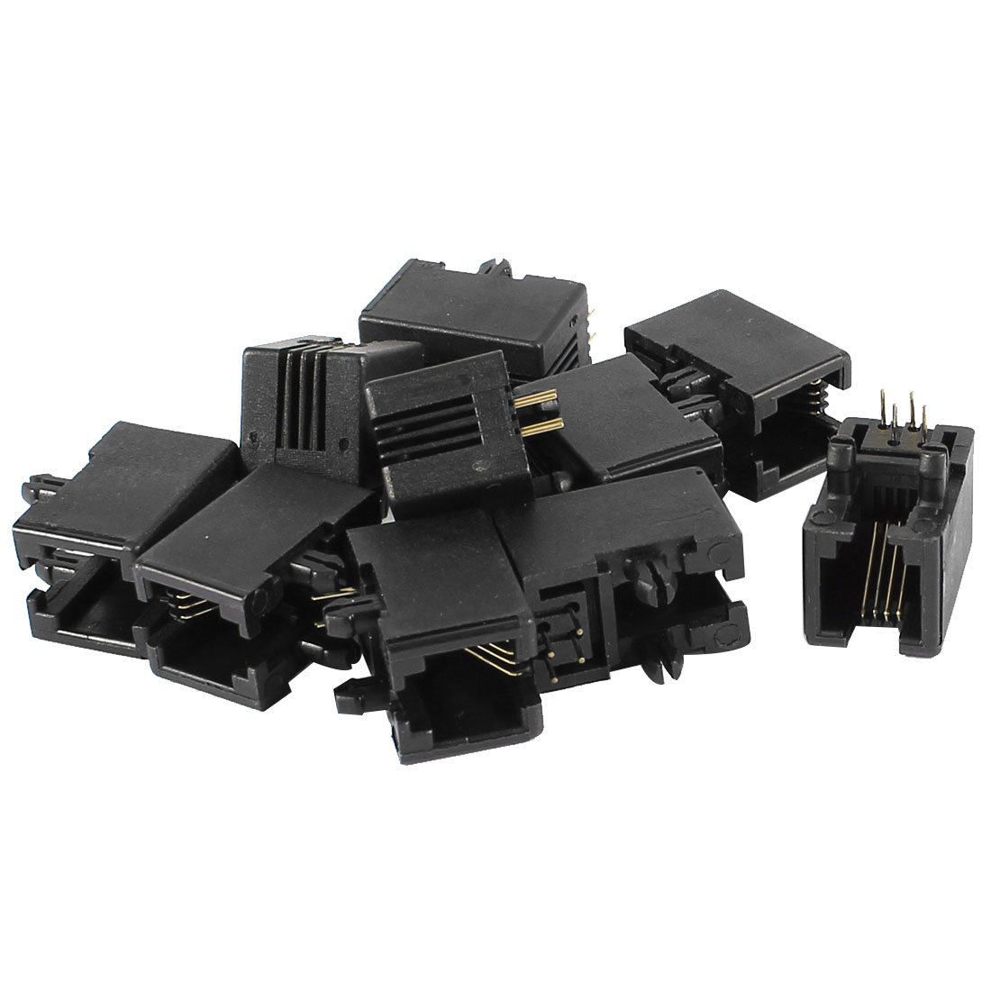 10pcs RJ11 PCB Mount Black Modular Jack 4P4C Telephone Socket Connector