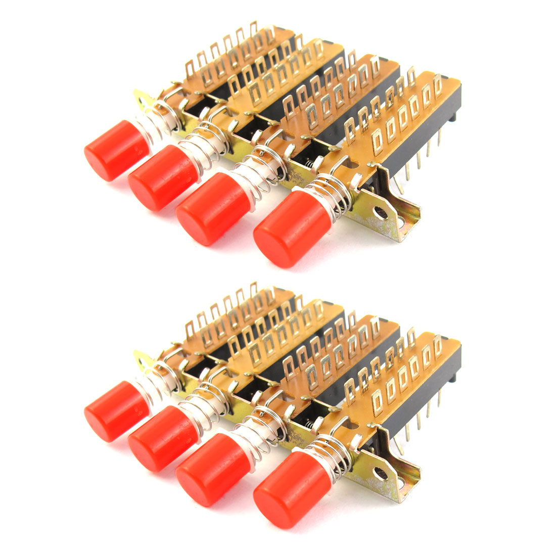 4P2T 4 Rows Interlock Push Button Knob Piano Key Switch 2 Pcs