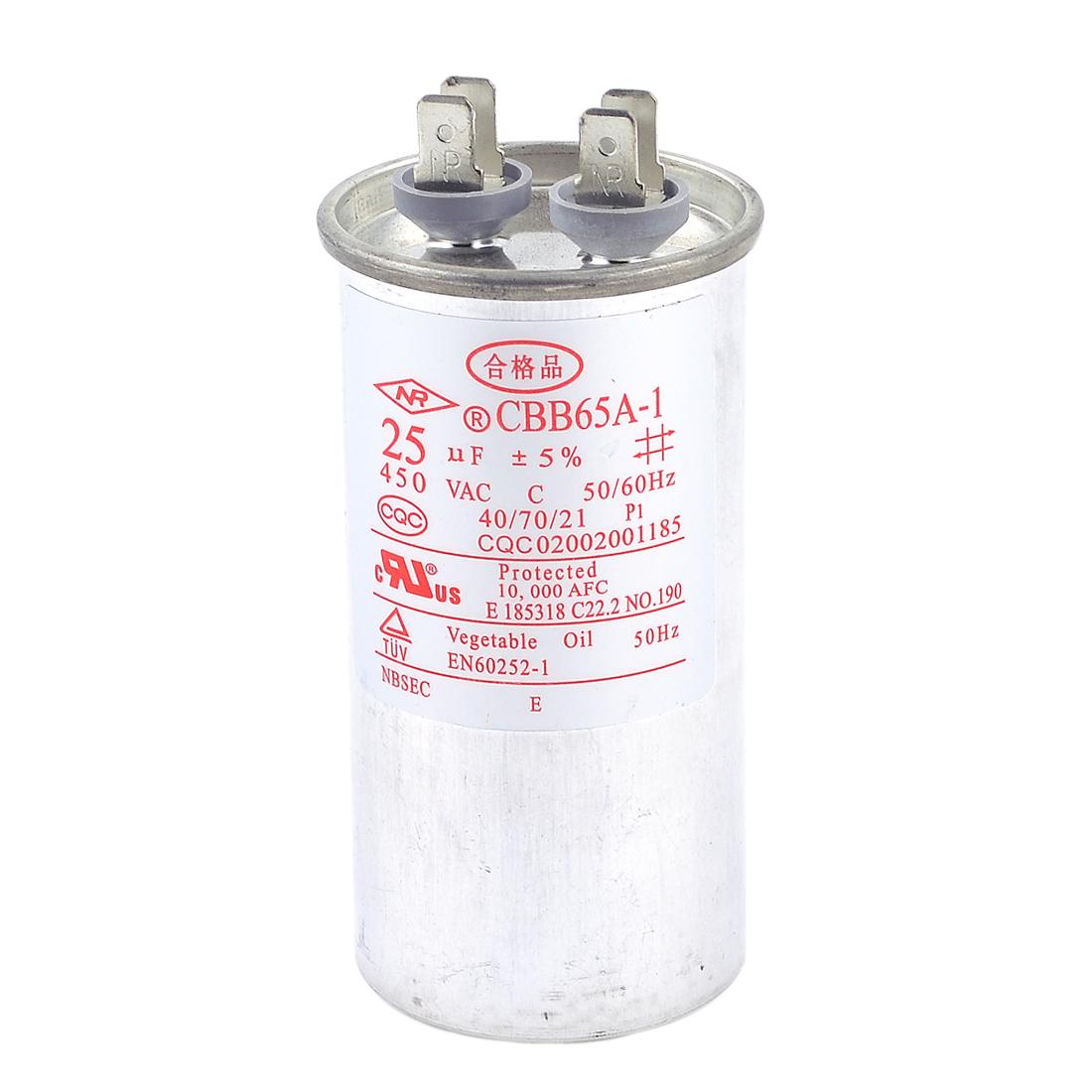 Generators AC450V 25 uF 4 Lug Terminals Cylinder Shape Motor Capacitor