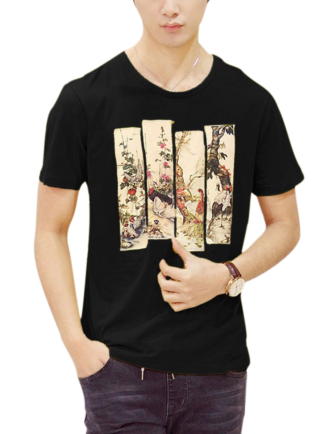 Men Black Paintings Embellished Casual T-Shirt M