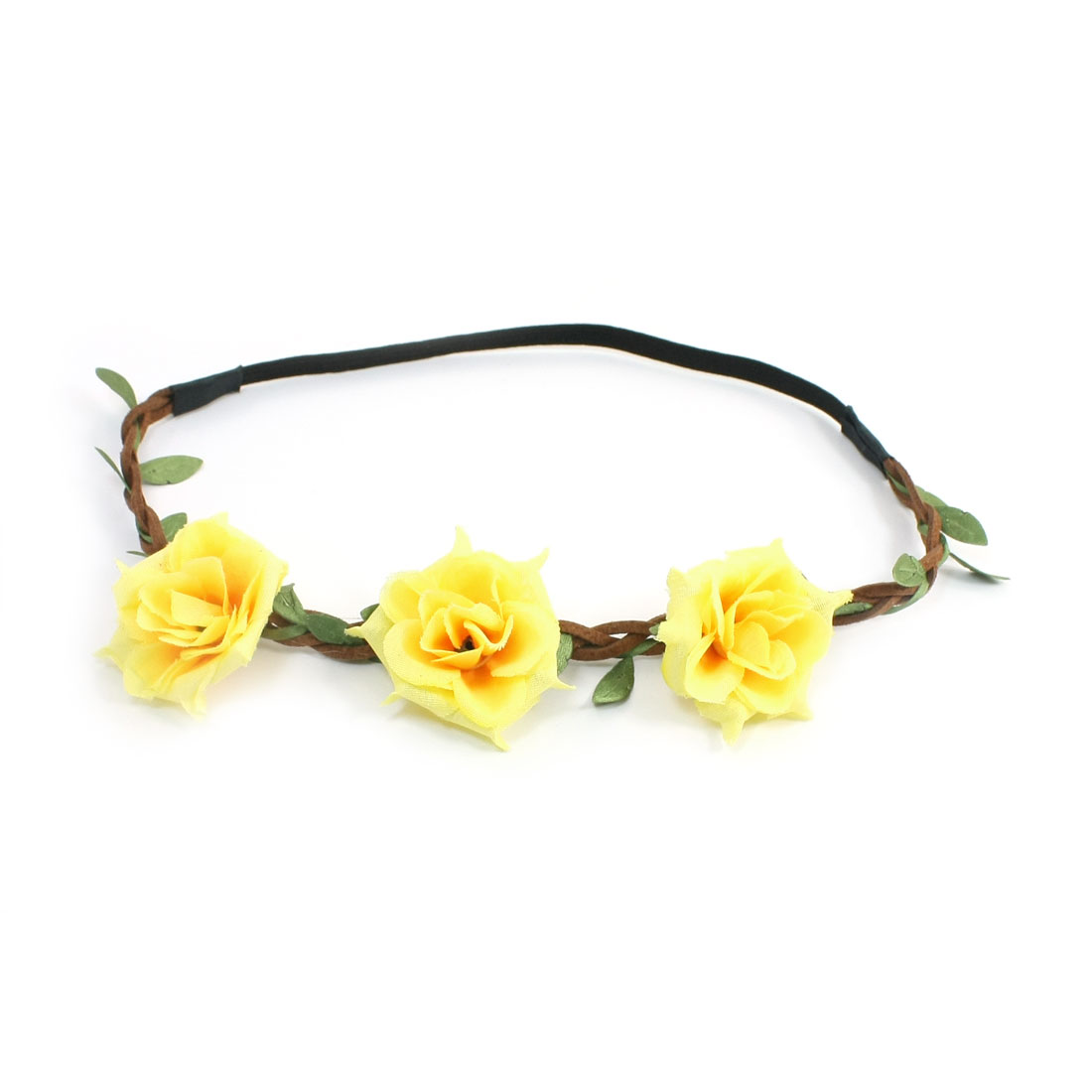 Yellow Flower Decor Elastic Fiber Hairband Head Band for Women