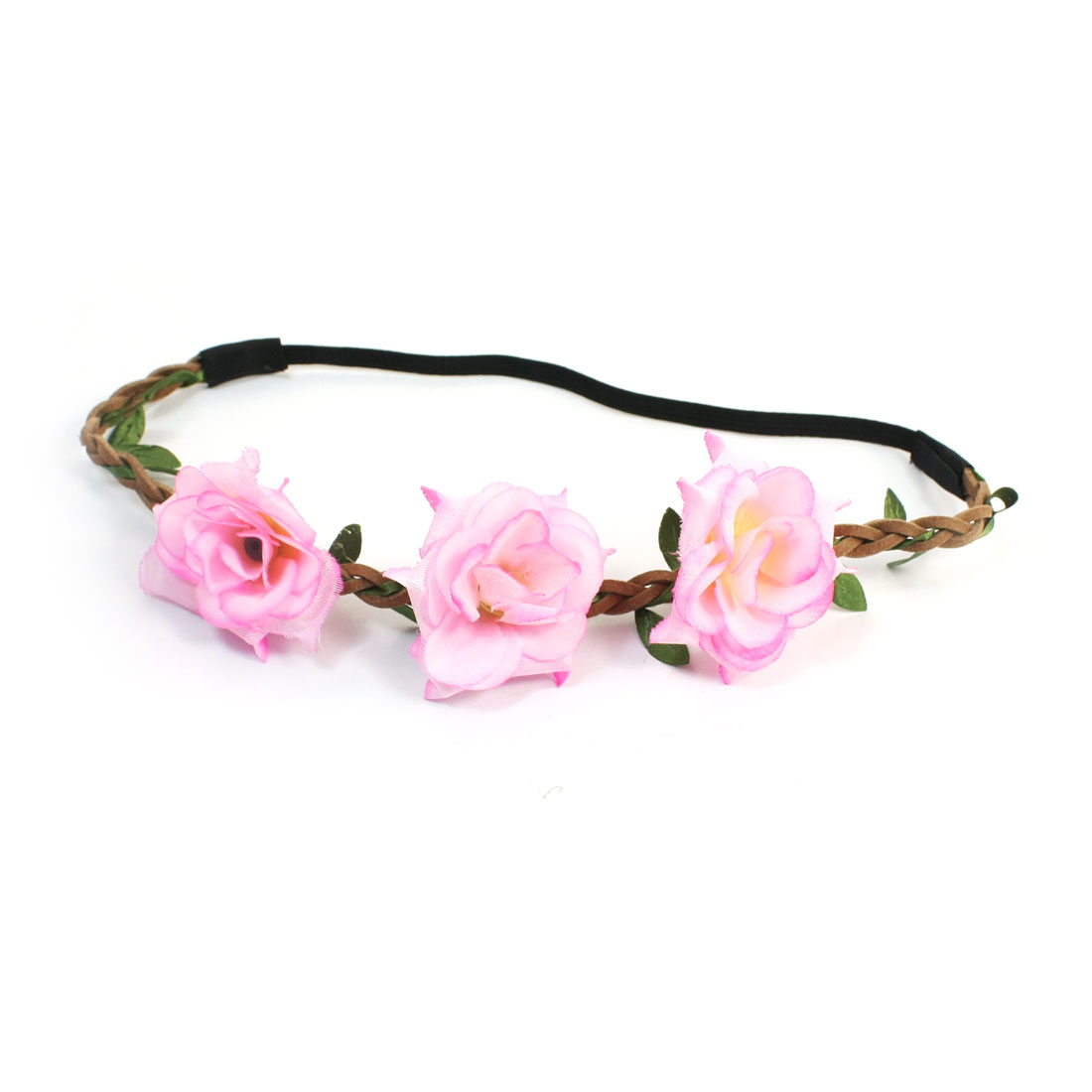 Pale Pink Flower Decor Elastic Fiber Head Band Hairband for Lady