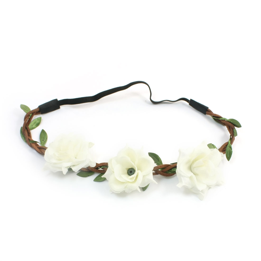 Lady Off White Flower Decor Elastic Fiber Hairdress Head Band