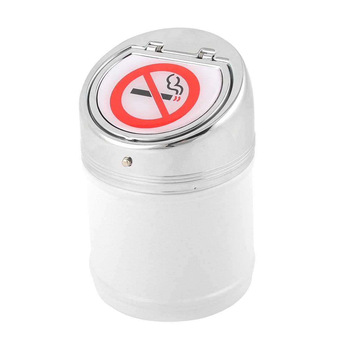 "Silver Tone Lid Automatic Locking White Cylinder Cigarette Ashtray 2.6"" x 4"""