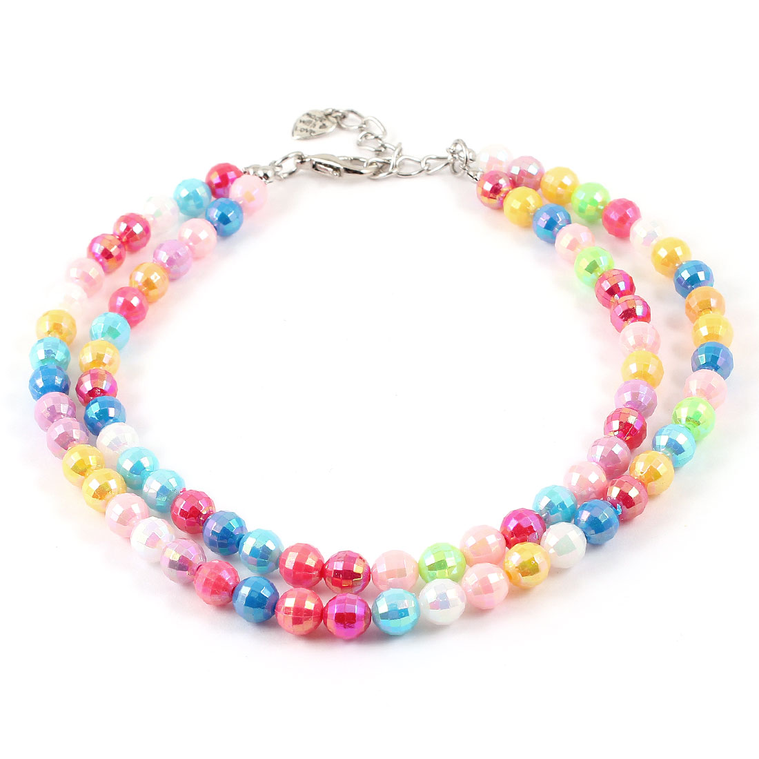 Colorful Dual Row Round Beads Linked Pet Dog Yorkie Cat Collar Necklace L