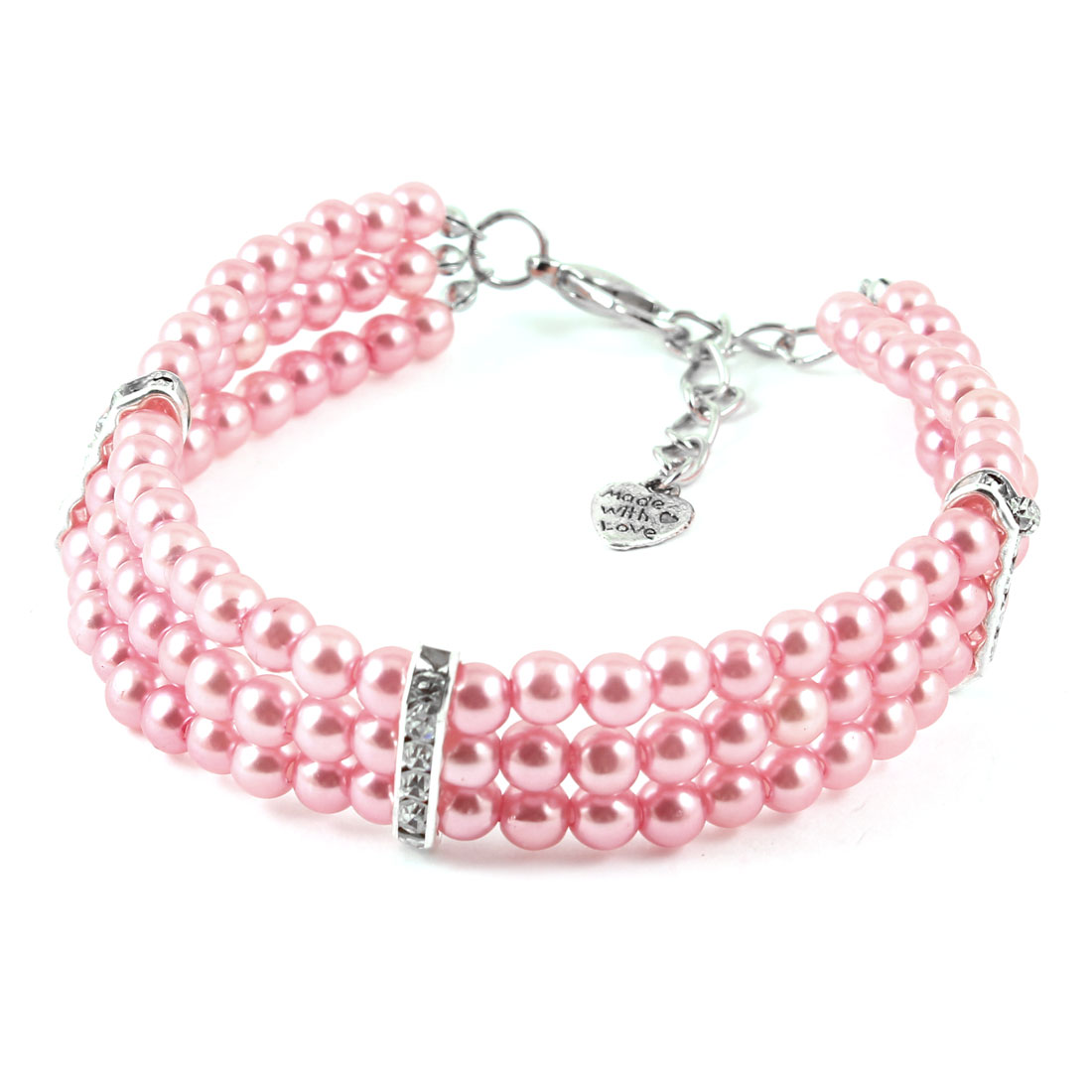 Pink Beads Ornament Lobster Clasp Pet Dog Yorkie Collar Necklace M