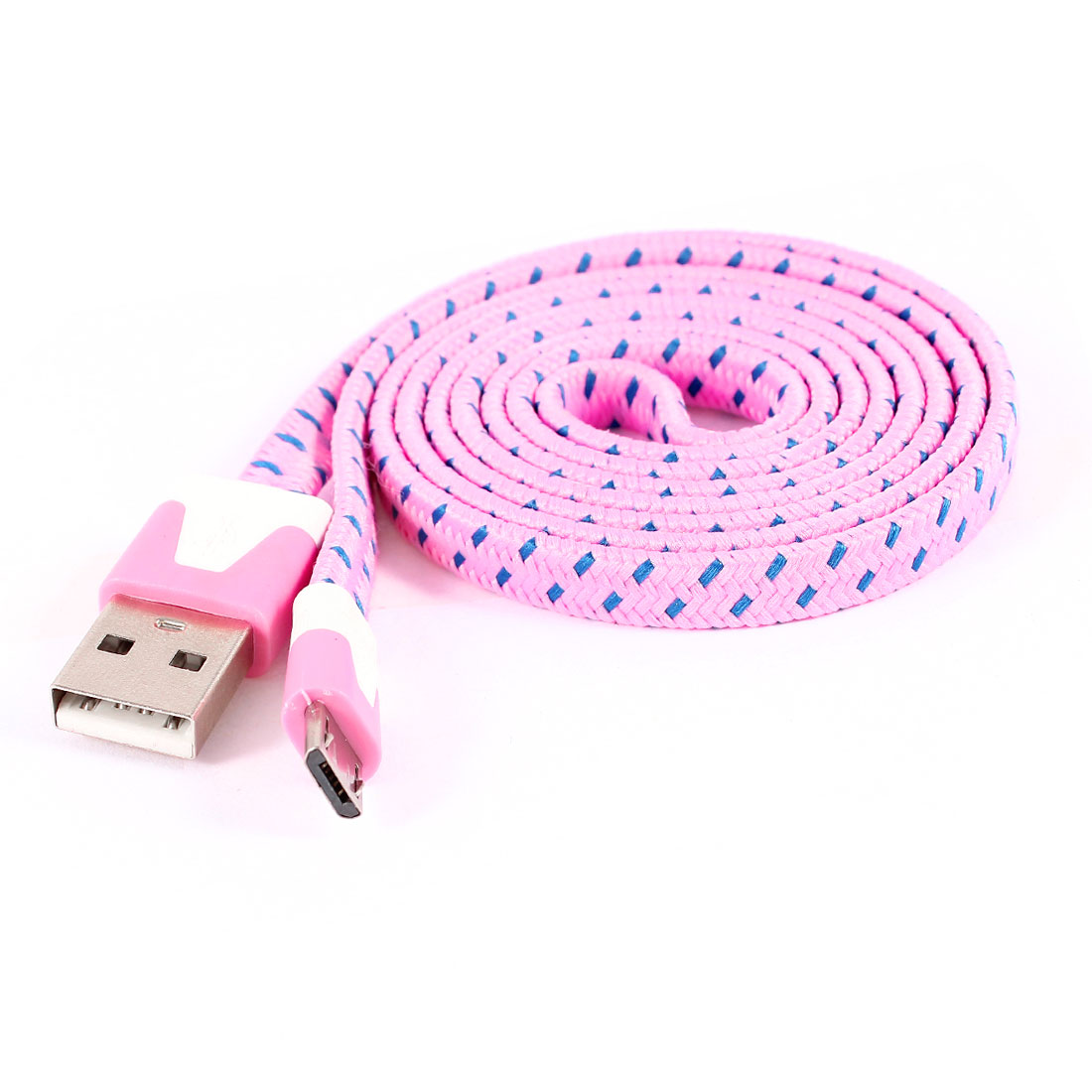 Pink USB 2.0 Type A Male to Micro USB Male Flat Data Sync Charging Cable 1M