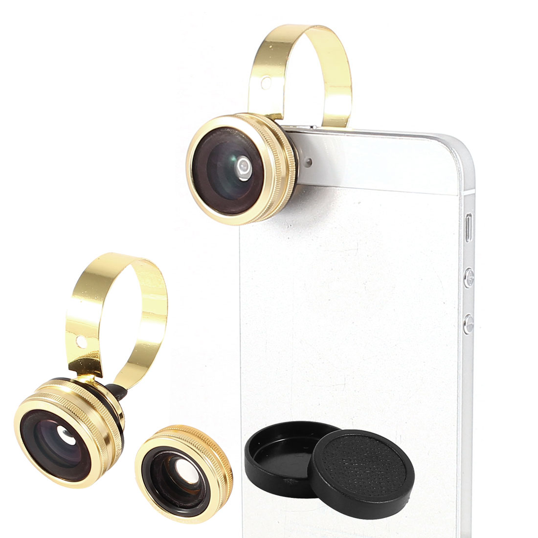 3 in 1 Phone 180 Degree Fish Eye Lens + Wide Angle + Micro Lens Camera Gold Tone
