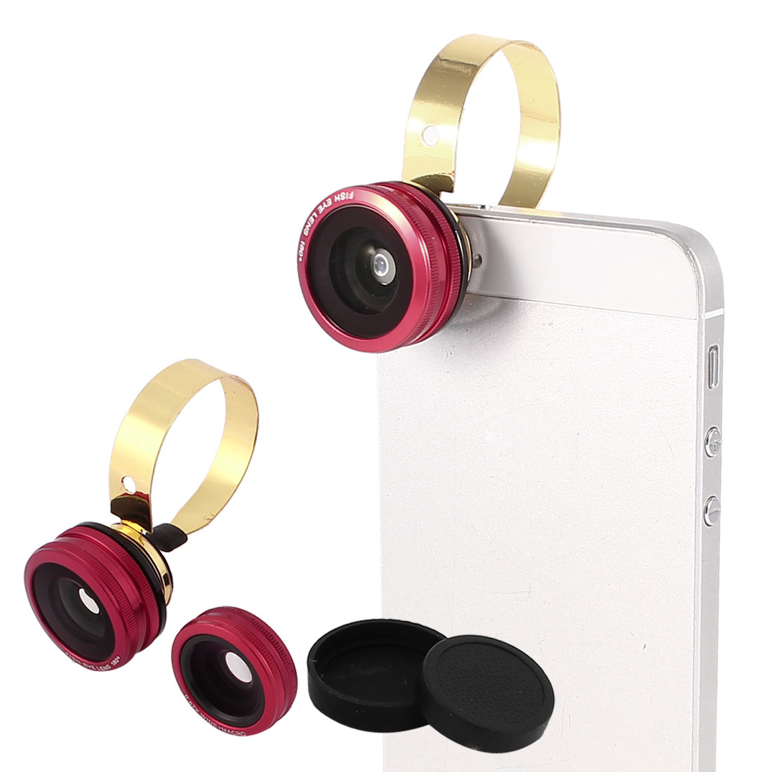Red 180 Degree Fish Eye Lens + Wide Angle + Micro Lens for Mobile Phone