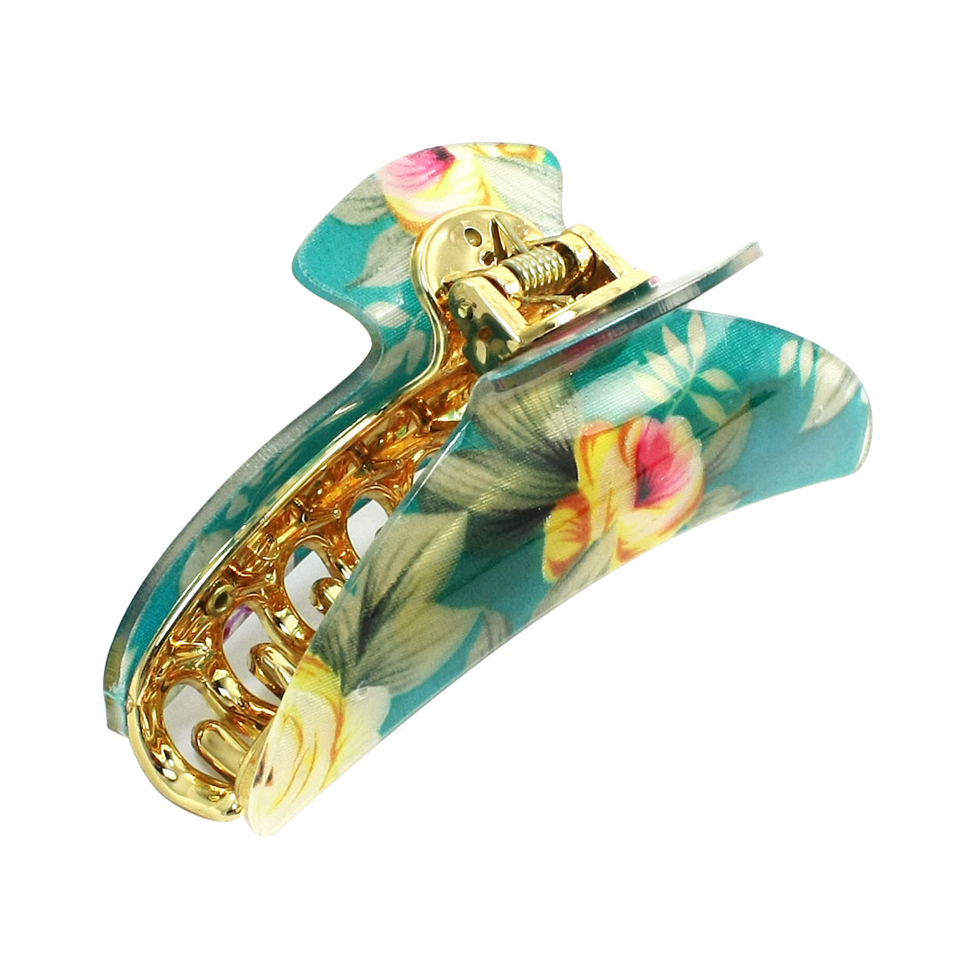 Woman Green Gold Tone Colorful Floral Plastic Hair Claw Hairpin