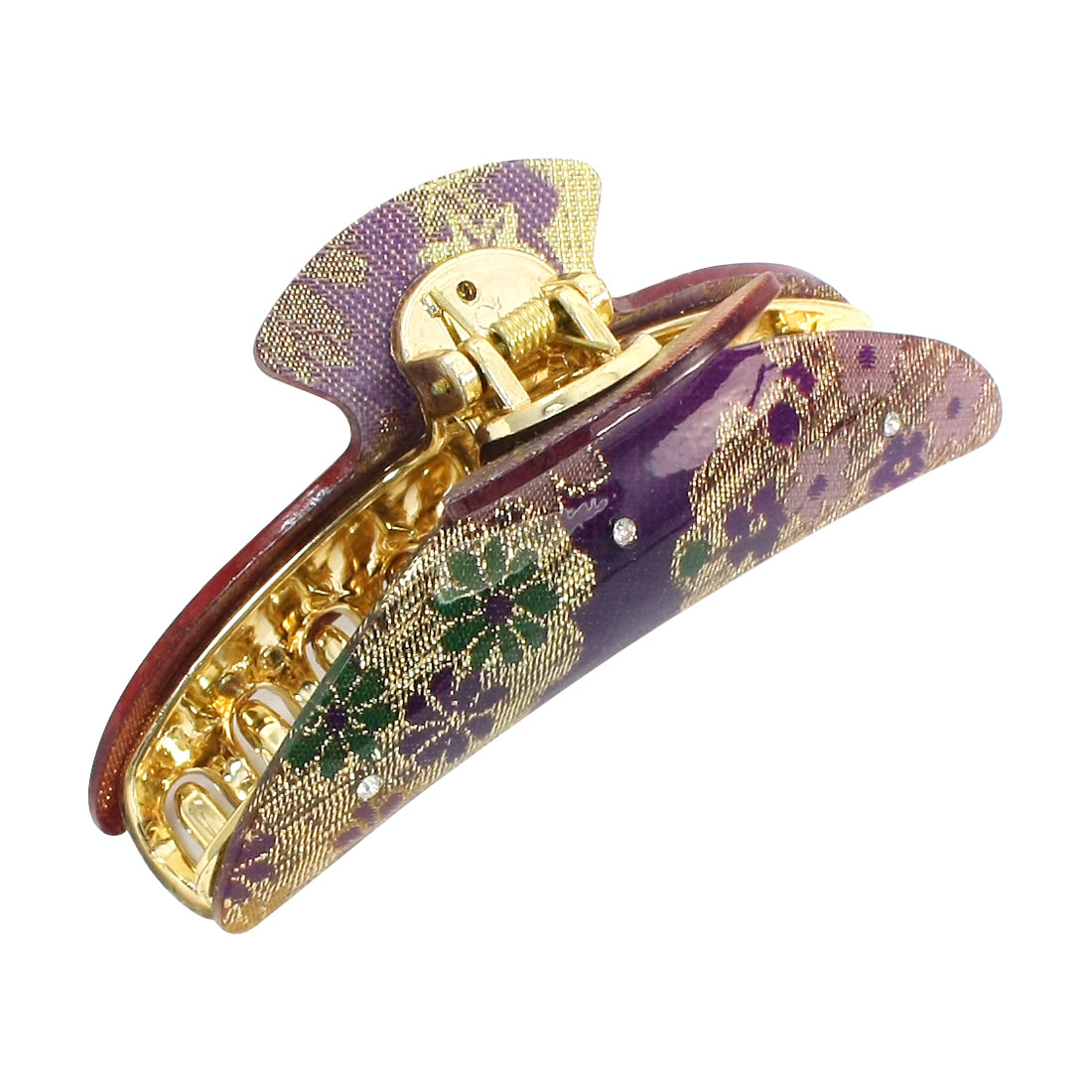 Purple Floral Pattern 20 Teeth Hair Clip Claws for Lady