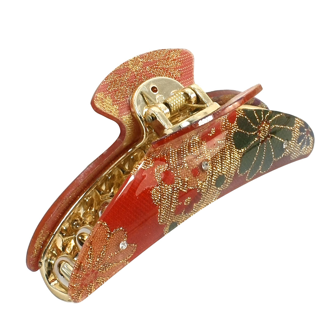 Lady Woman Gold Tone Red Rhinestone Inlaid Plastic Hairclip Ornament