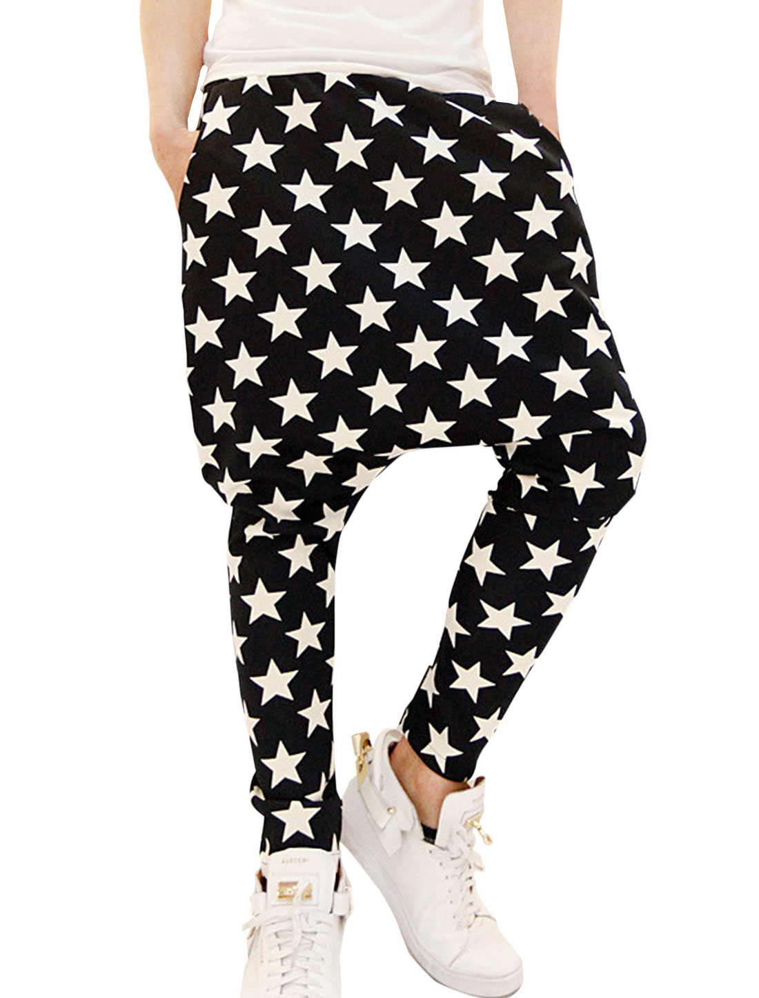 Men Black Stretchy Waist Star Design Supple Harem Pants W30