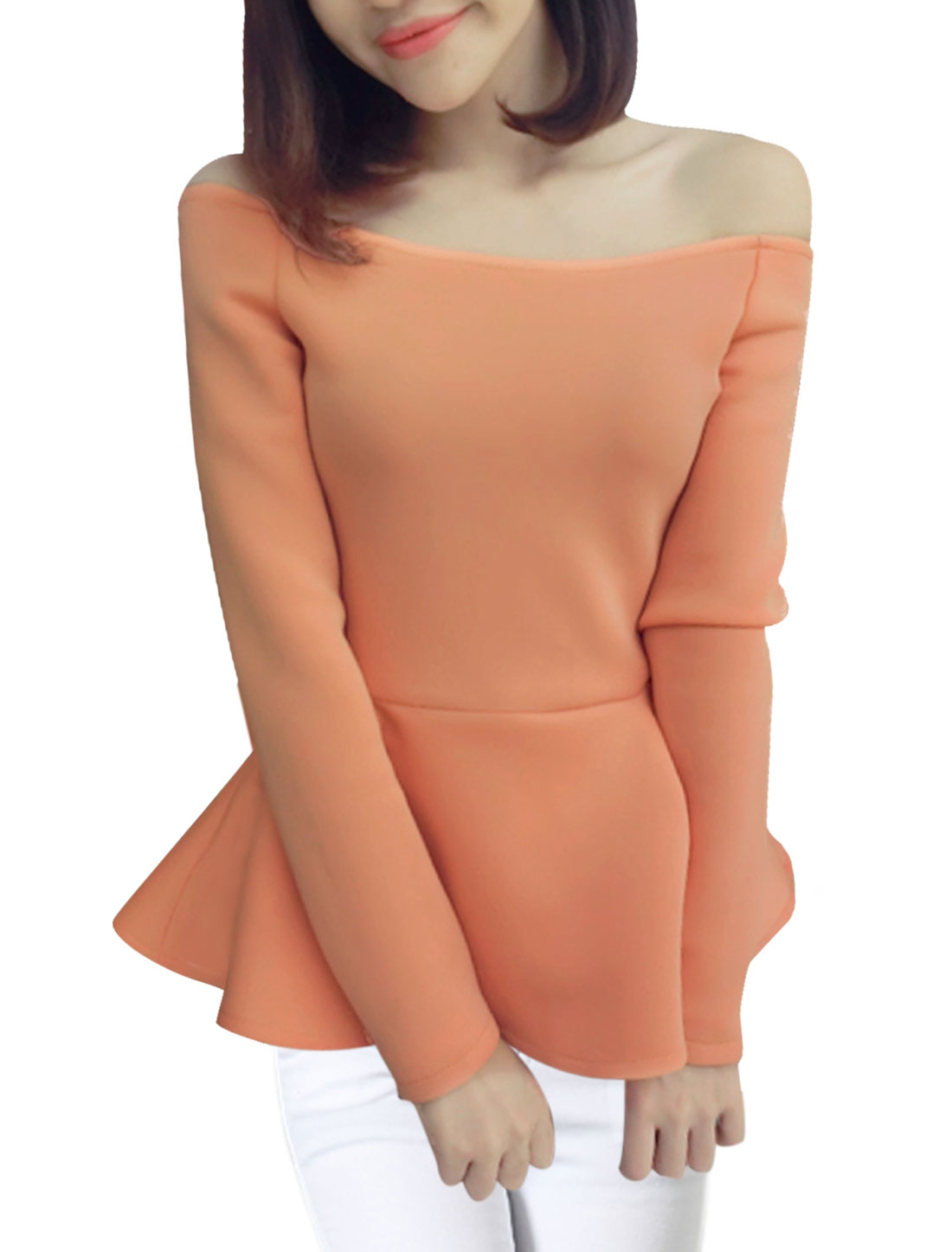 Women Orange Slipover Off Shoulder Long Sleeve Pure Pattern Pleated Hem Peplum Top XS