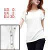 Lady White Round Neck Short Sleeve Cut Out Shoulder T-Shirt XS