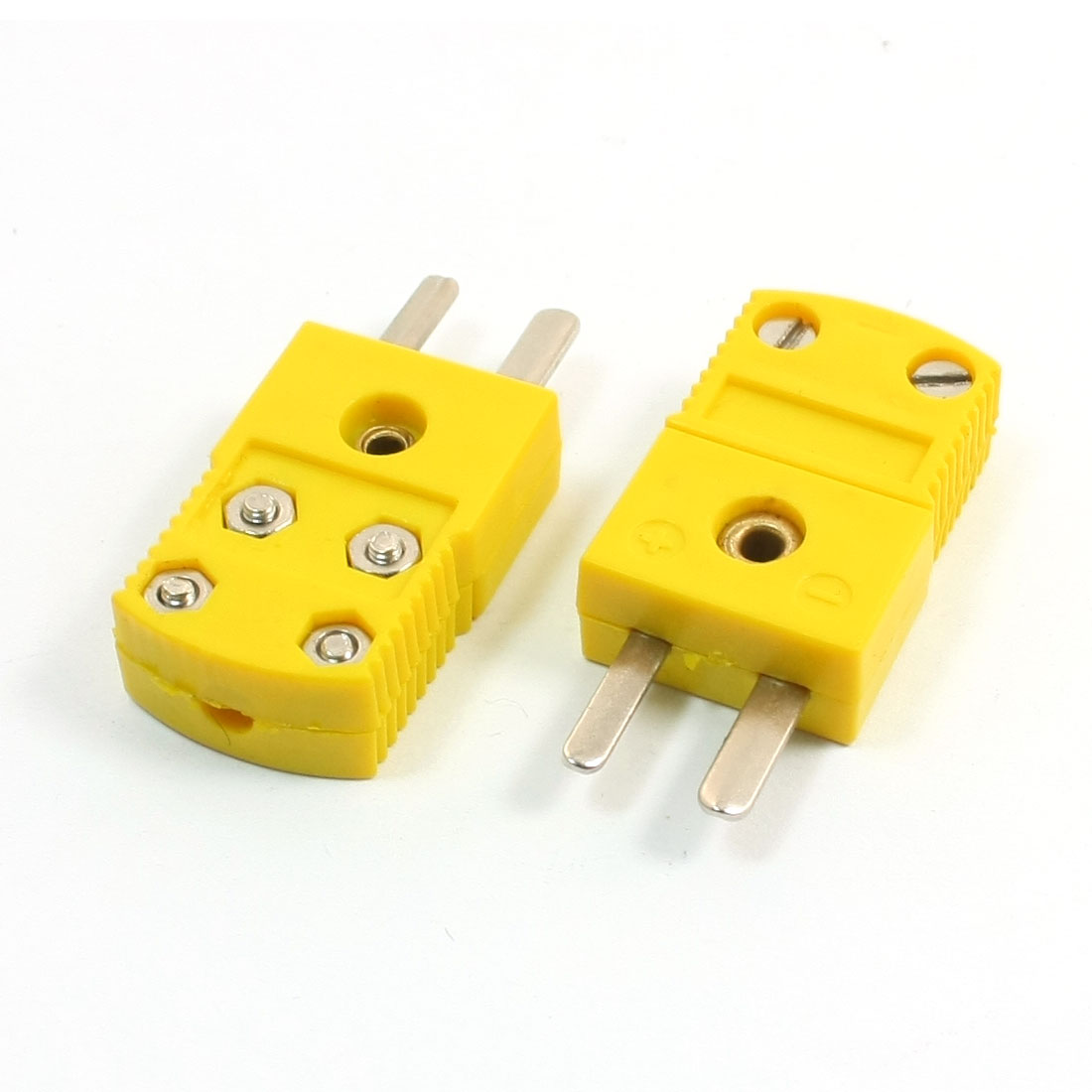 2Pcs RTD Circuits Male Plugs Thermometer Thermocouple Adapter Yellow