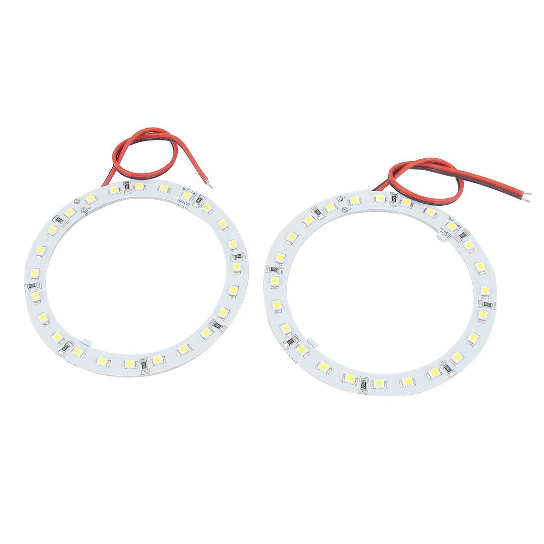 Pair 1210 24 SMD LEDs White Angel Eye Ring Headlight Lamp 12V 80mm Dia for Car