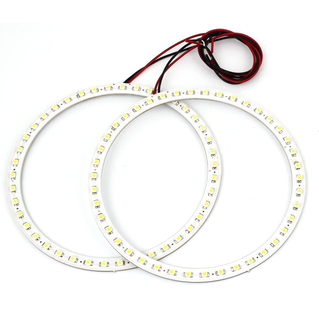 2 Pcs 13cm Dia 1210 SMD 42 LED Vehicle Car Angel Eyes Ring Lights Lamps White 12V